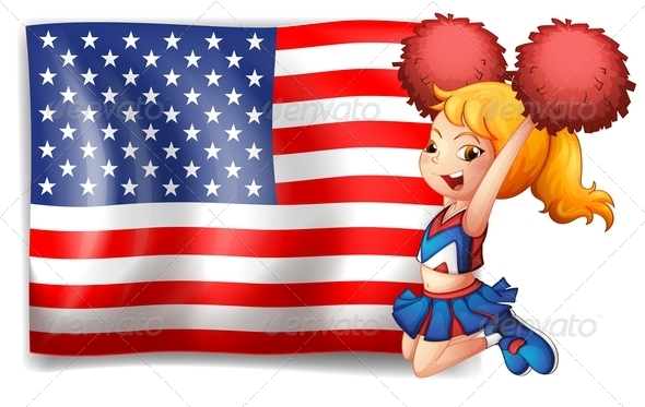 USA Flag with Energetic Cheerleader