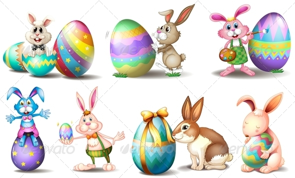 GraphicRiver Easter eggs with playful bunnies 7892042