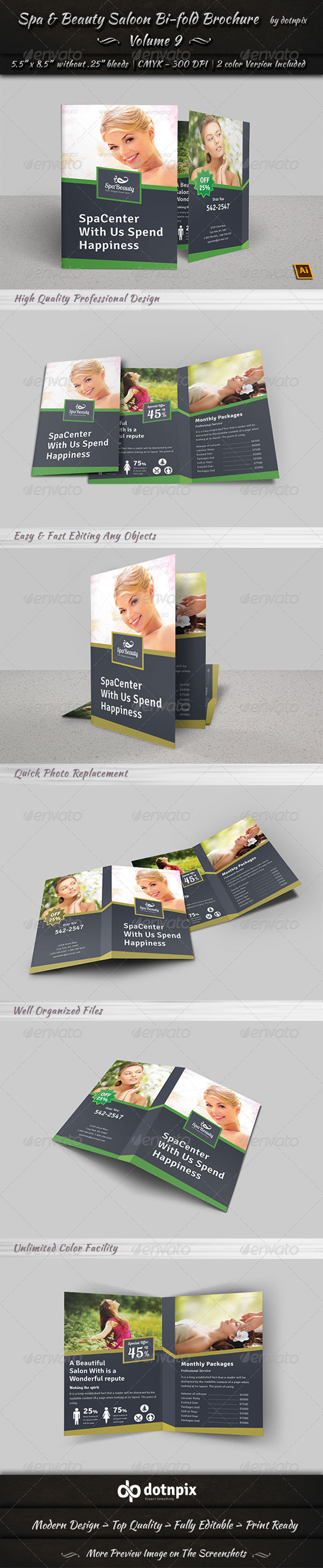GraphicRiver Spa & Beauty Saloon Bi-fold Brochure Volume 9 7892049