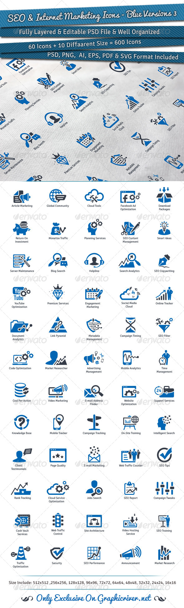 GraphicRiver SEO & Internet Marketing Icons Blue Versions 3 7892124