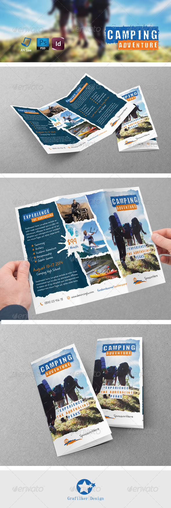 GraphicRiver Camping Adventure Tri-Fold Templates 7892143