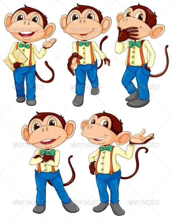 GraphicRiver Five monkeys wearing blue jeans 7892255