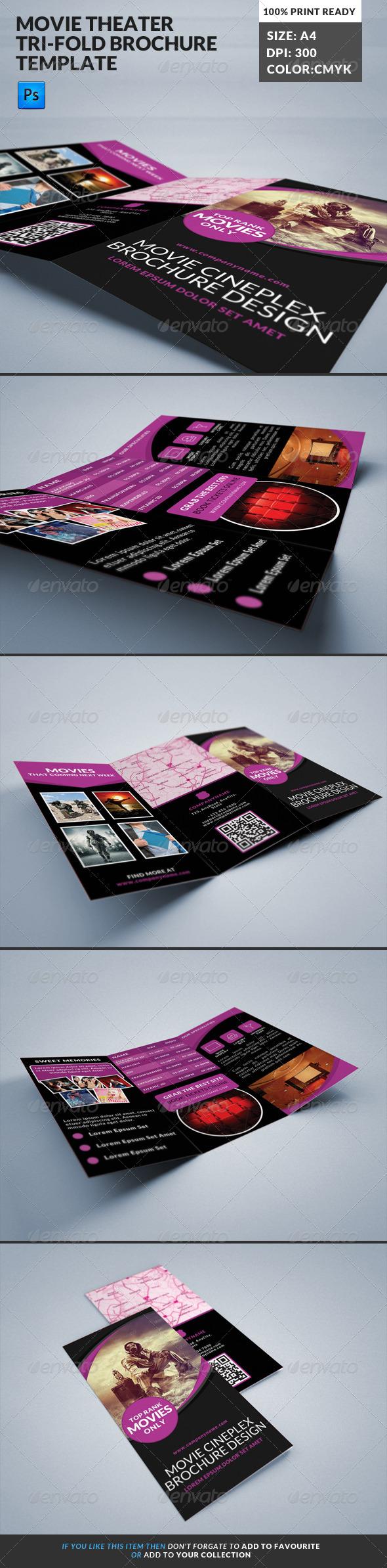 GraphicRiver Movie Theater Cinema Hall Tri-Fold Brochure 7888829