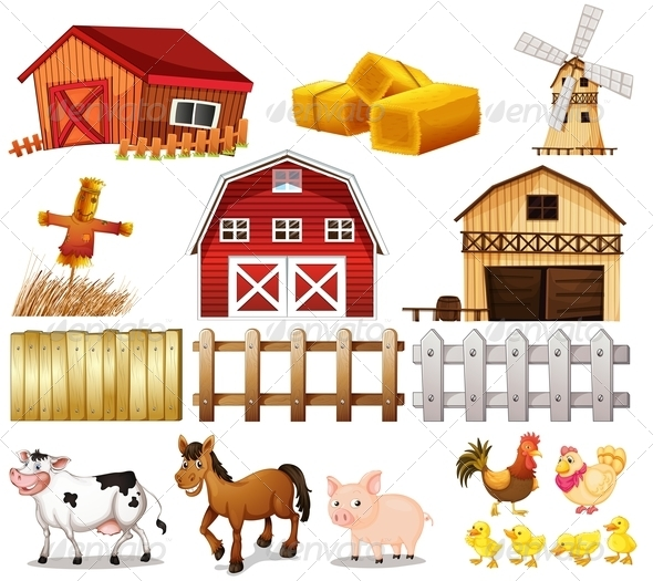 GraphicRiver Farm Animals and Buildings 7892375