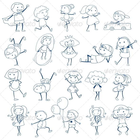 GraphicRiver Kids Playing Sketch Style 7892376