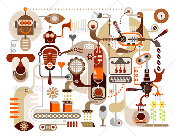 Coffee Factory Abstract Illustration