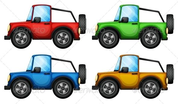 GraphicRiver 4 Colored Jeep 7892532