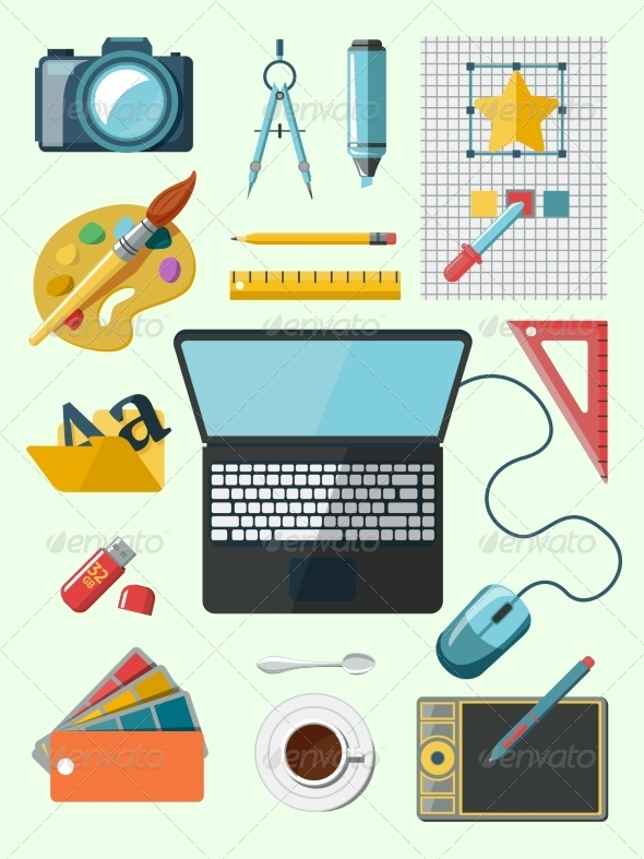 GraphicRiver Designer Workplace Icons 7893080