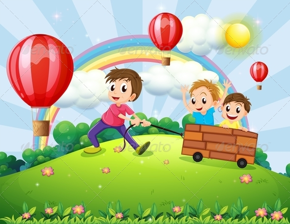 GraphicRiver Boys Playing on the Hill with Rainbow 7893096