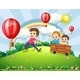 Boys Playing on the Hill with Rainbow - GraphicRiver Item for Sale