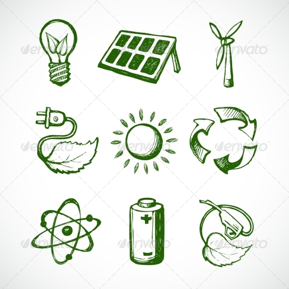 GraphicRiver Green Energy Sketch Icons 7893098