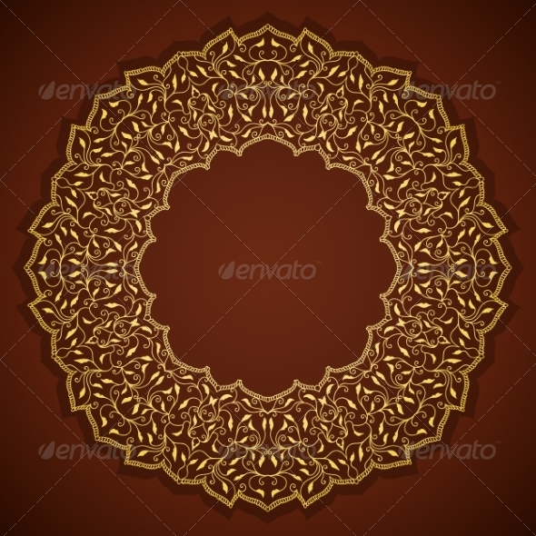 GraphicRiver Lace Gold Round Ornament with Leaves 7893152