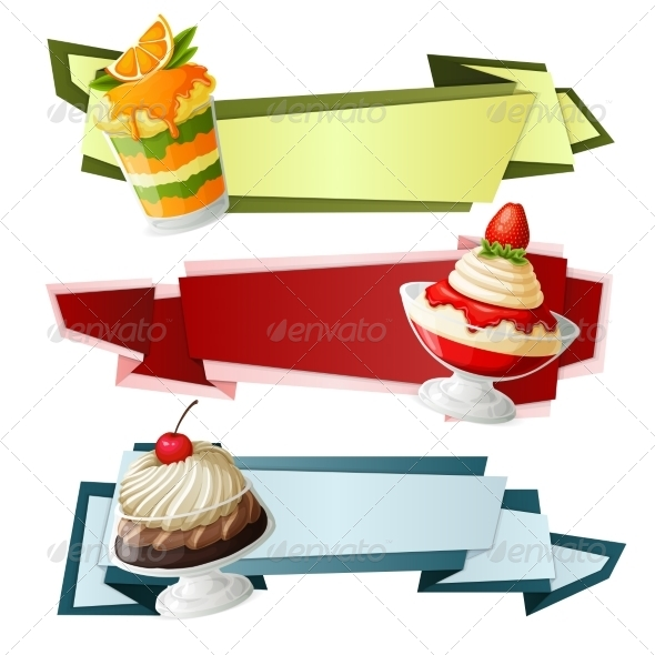 GraphicRiver Sweets Paper Banners 7893164