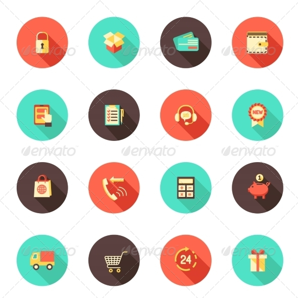 GraphicRiver Shopping E-commerce Icons 7893228