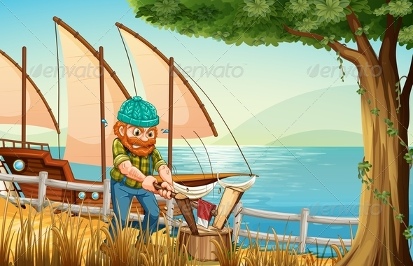 GraphicRiver Hardworking man chopping wood at the riverbank 7893229