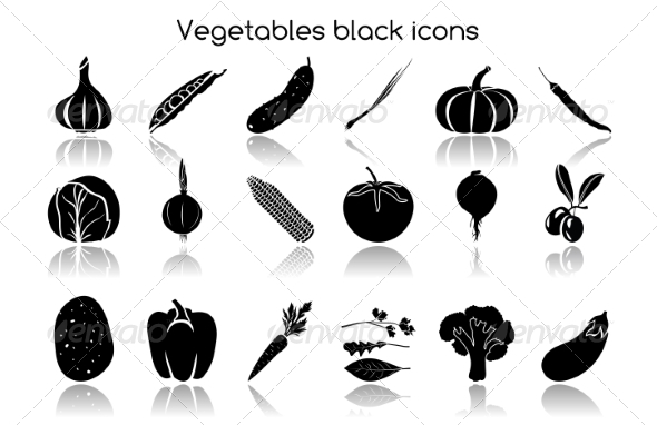 GraphicRiver Vegetables Black Icons 7893237