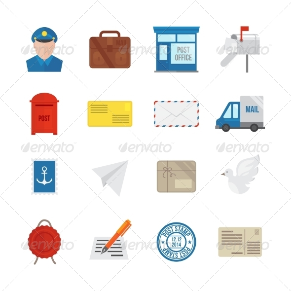 GraphicRiver Post Service Icons Flat 7893239