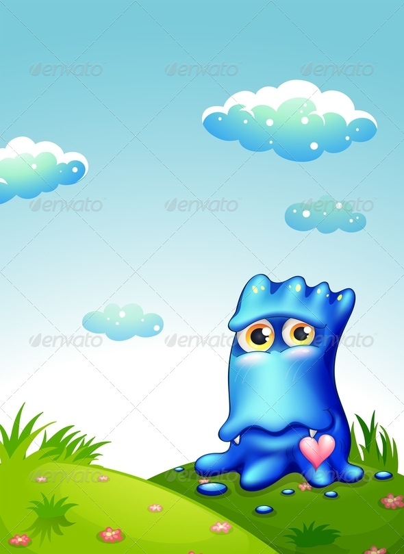 GraphicRiver Blue Monster on Hilltop 7893413