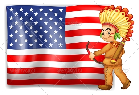 Young Indian and USA Flag