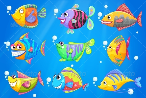 GraphicRiver School of Colourful Fishes 7893441