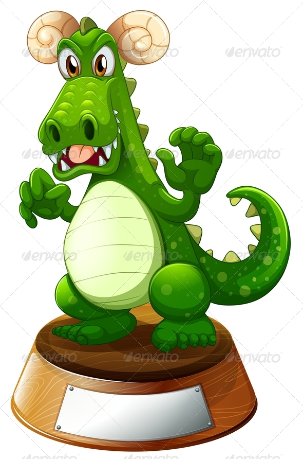 GraphicRiver Angry Dragon on Trophy Stand 7893452