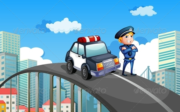 GraphicRiver Policeman and Patrol Car on Overpass 7893493