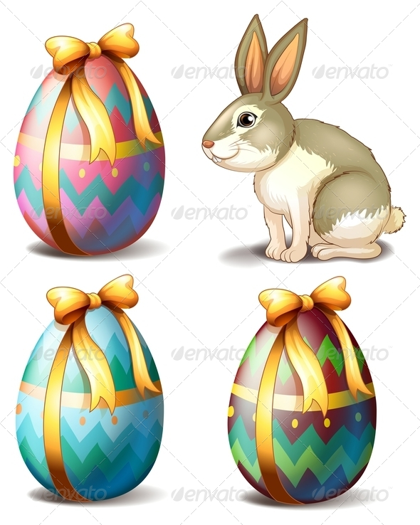 GraphicRiver Three Colorful Eggs and Cute Bunny 7893506