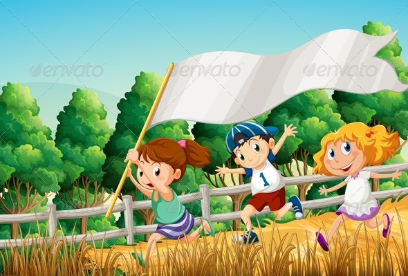 GraphicRiver Kids Running with Empty Banner 7893531