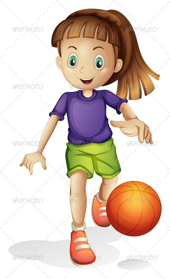 GraphicRiver Girl Playing Basketball 7893540