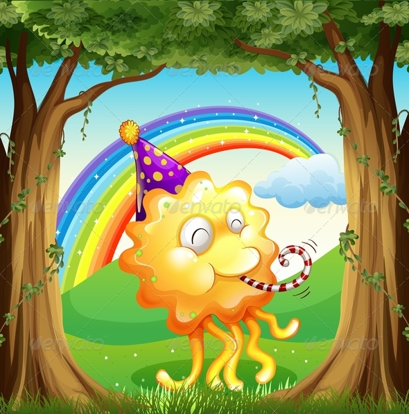 GraphicRiver Happy Monster in Forest 7893548