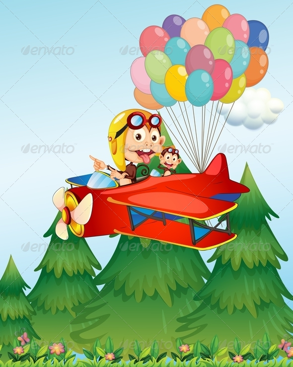 GraphicRiver Monkey Flying Plane 7893603