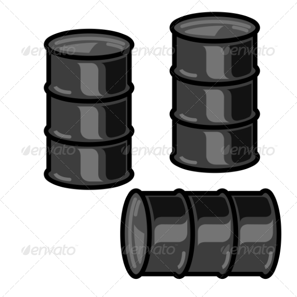 Silhouettes Metal Barrels for Oil on White Background