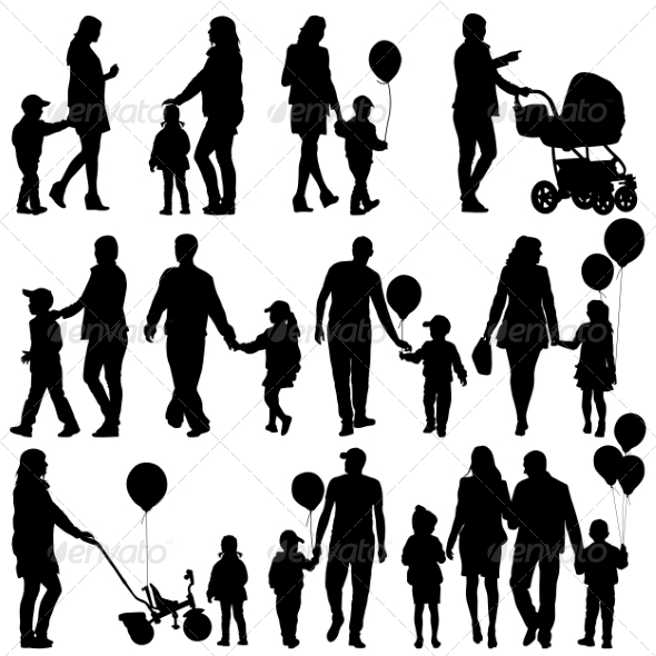 GraphicRiver Black Set of Silhouettes of Parents and Children 7893702