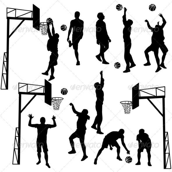 GraphicRiver Black Silhouettes of Men Playing Basketball 7893718