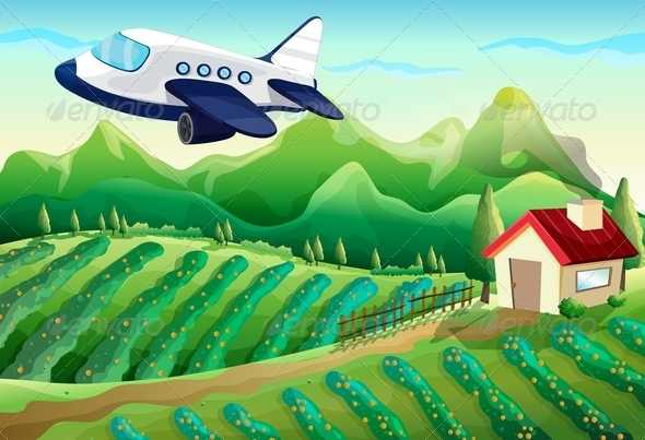 GraphicRiver Airplane Flying Over the Farm 7893757