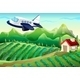 Airplane Flying Over the Farm - GraphicRiver Item for Sale
