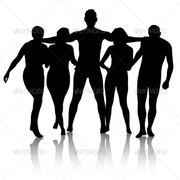 GraphicRiver Black Silhouettes of Beautiful Men and Women 7893766