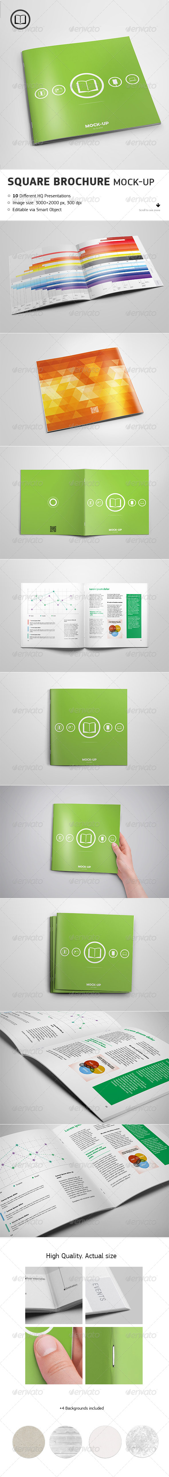 GraphicRiver Square Brochure Mock-up 7893868