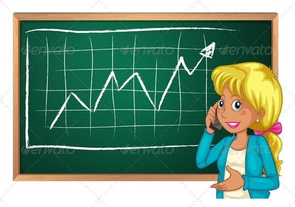 GraphicRiver Woman with Cell Phone and Chalkboard 7893887