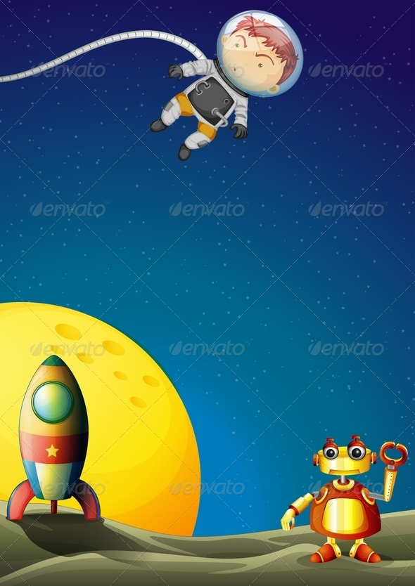 GraphicRiver Astronaut and Robot in Outerspace 7894204