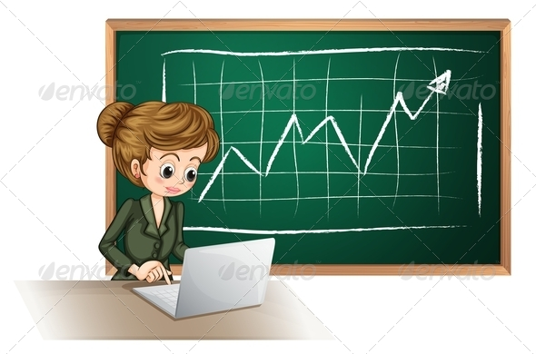 GraphicRiver Busy Lady with Laptop in Front of Blackboard 7894213
