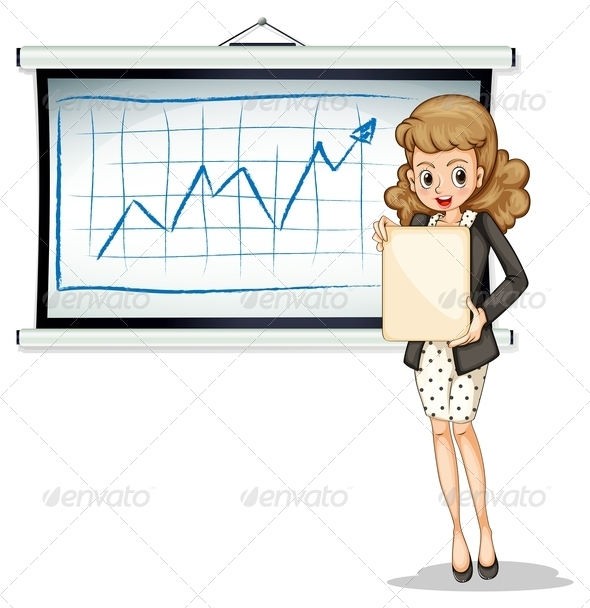 GraphicRiver Woman Holding Empty Sign with Chart 7894287