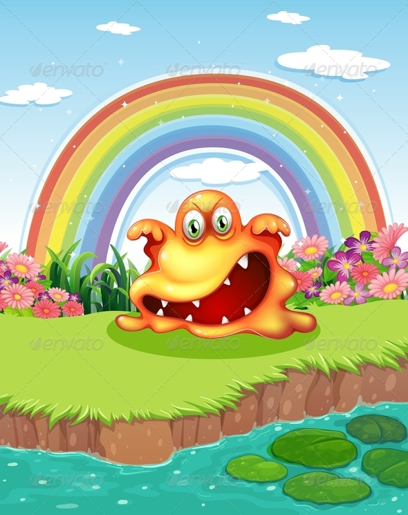 GraphicRiver Scary Monster with Pond and Rainbow 7894299