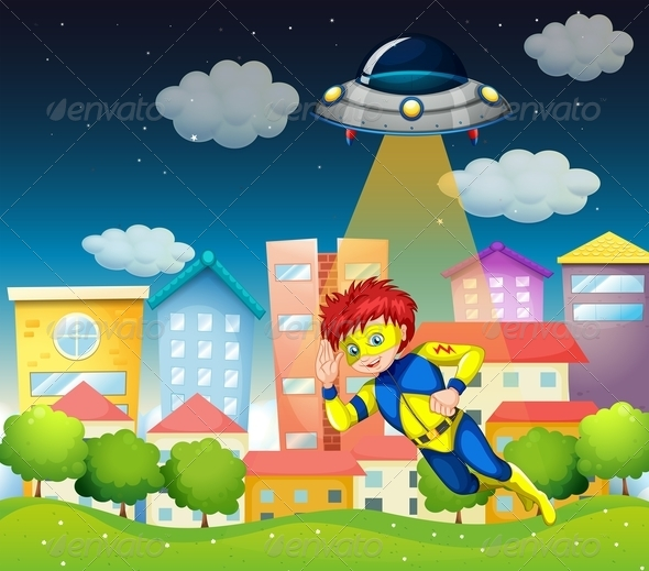 Superhero and UFO Scene