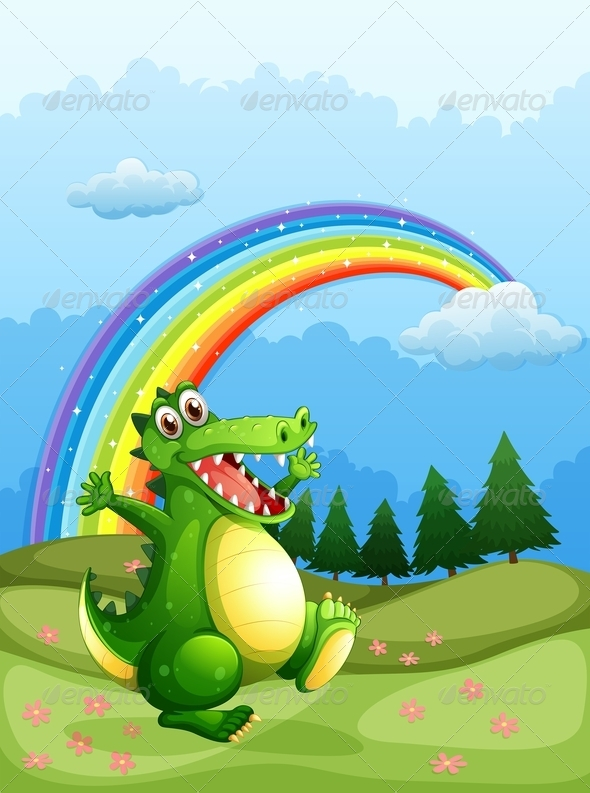 GraphicRiver Crocodile Walking with Rainbow in the Sky 7894539