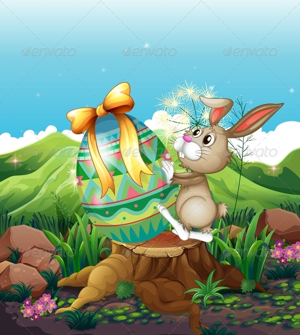 GraphicRiver Bunny with Big Easter Egg 7894595