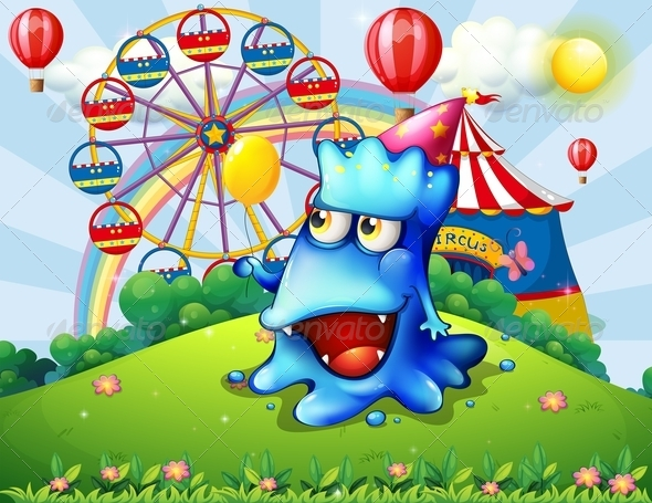 GraphicRiver Monster with Balloon at the Carnival 7894614