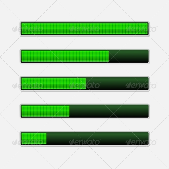 GraphicRiver Set of Green Progress Bars 7894689