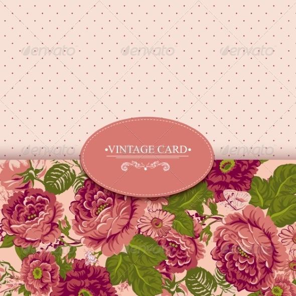 GraphicRiver Elegance Vintage Floral Card with Roses 7894770