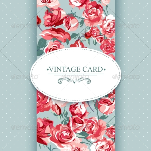 GraphicRiver Elegance Vintage Floral Card with Roses 7894781
